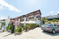 Familiehotel en restaurant op de dijk van oude Nessebar, Bulgarije Royalty-vrije Stock Foto