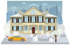Familiehuis in de winter royalty-vrije illustratie
