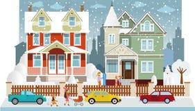 Familiehuizen in de winter (diorama) stock illustratie