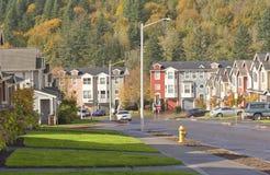Familiehuizen op een rij Oregon Stock Foto