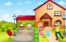 Familieleden bij het huis vector illustratie