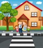 Familieleden die zich voor het huis bevinden vector illustratie