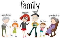 Familieleden met drie generaties stock illustratie