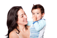 Familiemoeder en zoon Stock Foto