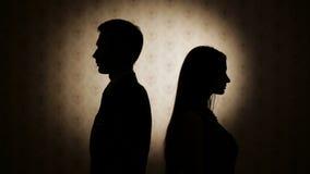 Familiemoeilijkheden Beledigd op elkaar man en vrouw stock videobeelden