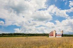 Familien-Bauernhof-Szene mit drastischem Himmel Stockfotografie