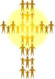 Familien bilden ein goldenes Cross/ai Lizenzfreie Stockfotografie