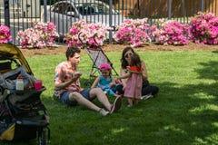 Familien, die den Erdbeerfestival Elmwood-Park genießen stockbilder
