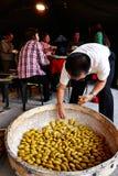 Familien, die Kuchen oder Mehlklöße des traditionellen Chinesen machen lizenzfreie stockfotografie