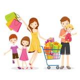 Familien-Einkaufen und Geschenkbox im Warenkorb Lizenzfreies Stockbild