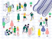 Familien-Einkaufshorizontale isometrische Illustration lizenzfreie abbildung