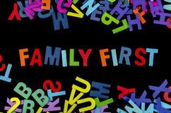 FAMILIEN-ERSTE WÖRTER Lizenzfreie Stockfotos