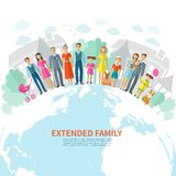 Familien-flacher Hintergrund Lizenzfreies Stockfoto