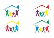 Familien-Haus-Logo, Haus und Leute Logo im Satz Stockfotografie