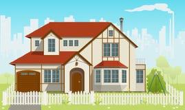 Familien-Haus. Vektorabbildung. EPS8 Lizenzfreie Stockbilder
