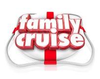 Familien-Kreuzfahrt-Boots-Fahrferien-Feiertags-zusammen Schwimmweste Lizenzfreies Stockbild