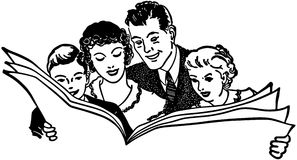 Familien-Lesezeitung lizenzfreie abbildung