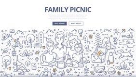 Familien-Picknick-Gekritzel-Konzept Lizenzfreie Stockfotografie