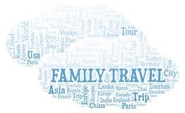 Familien-Reisewortwolke lizenzfreie abbildung