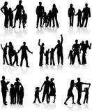 Familien-Schattenbilder Stockfoto