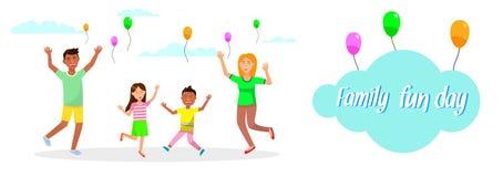 Familien-Spaß-Tageshorizontale Fahne Muttergesellschaft und Kinder lizenzfreie abbildung