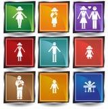 Familien-Tasten-Set Stockbild
