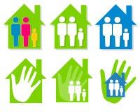 Familien-und Haus-Klipp-Kunst lizenzfreie abbildung