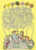 Familien-und Nahrungsmittellabyrinth-Spiel Stockfoto