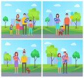 Familien-Vater-und Mutter-Kindervektor-Illustration lizenzfreie abbildung