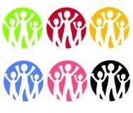 Familien-Web-Ikonen oder Zeichen stock abbildung