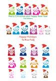 Familien-Weihnachtskarte, vektorleute-Ikonenset Lizenzfreie Stockfotografie
