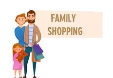 Familieneinkaufscharaktere stellten, ein, lokalisiert auf weißem Hintergrund, catroon Art, modern, Lizenzfreies Stockbild