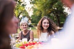 Familienfeier oder ein Gartenfest draußen im Hinterhof stockbild