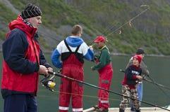 Familienfischen stockfotos