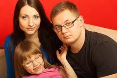 Familienfoto der Mutter, der Tochter und des Vaters lizenzfreies stockbild