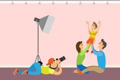 Familienfotosession, -kind und -eltern photograph vektor abbildung
