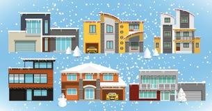 Familienhäuser (Winter) Lizenzfreie Stockfotografie