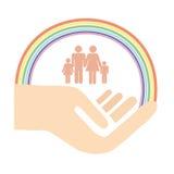 Familienhand, Schutz Stockbilder