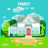 Familienhaus weiß lizenzfreie abbildung