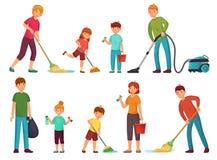 Familienhausarbeit Eltern und Kinder r?umen Haus auf und s?ubern mit Staubsauger- und W?schebodenkarikaturvektor stock abbildung