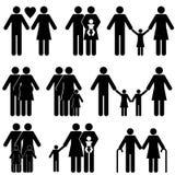 Familienikonenset Lizenzfreies Stockfoto