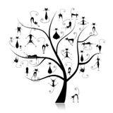 Familienkatzebaum, 27 schwarze Schattenbilder lustig Lizenzfreie Stockbilder