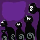 Familienkatzenendstück ist mit Grau auf dem violetten Hintergrund schwarz Lizenzfreies Stockfoto