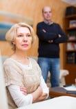 Familienkonflikt in den älteren Paaren Stockfoto