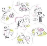 Familienleben eines Paares, lustige Vektorillustration Stockbilder