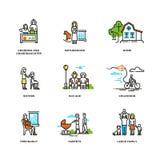 Familienleben, Heirat und Liebe, Kindheit und hohes Alter zeichnen Vektorikonen Stockbilder