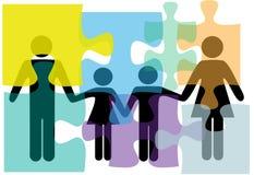 Familienleute-Gesundheitsproblem-Lösungspuzzlespiel Stockfotos