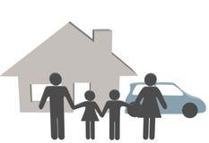 Familienleutehausauto-Leutesymbole zu Hause Stockbild