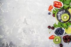Familienmahlzeiten der gesunden Diät der Bestandteile: frische saftige Früchte und Beeren mit der Minze und Eis, zum eines gesund Lizenzfreies Stockbild