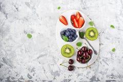 Familienmahlzeiten der gesunden Diät der Bestandteile: frische saftige Früchte und Beeren mit der Minze und Eis, zum eines gesund Lizenzfreies Stockfoto